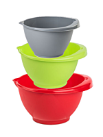 Set 3 boluri mixer, plastic, 1/2/3 L, Multicolor