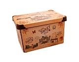 Cutie depozitare model Sweet Home Violet, cu capac, PP, 28x18x14 cm, 5 L, Multicolor