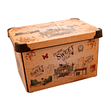 Cutie depozitare model Sweet Home Violet, cu capac, PP, 39x29x23 cm, 20 L, Multicolor