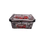 Cutie depozitare model London Violet, cu capac, PP, 35x23x17 cm, 10 L, Multicolor