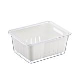 Caserola cu capac pentru frigider Domotti, cu sita scurgere, melamina, 22.4x17.3x10 cm, Transparent