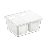 Caserola cu capac pentru frigider Domotti, cu 2 site scurgere, melamina, 22.4x17.3x10 cm, Transparent