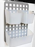 Organizator modular, 1 cos L + 2 cosuri S, 25.5x10.5x36 cm, PP, Alb/Gri