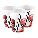 Spiderman set 8 pahare carton 200cc, compostabile.