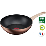Tigaie wok cu inductie Eco-Respect Tefal, aluminiu reciclat, 28 cm, Maro