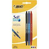 Set 3 pixuri retractabile BIC Soft Feel, 1.0 mm, Multicolor