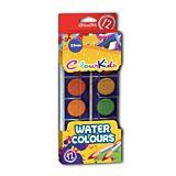 Set acuarele in 12 culori cu pensula Colour Kids, Multicolor
