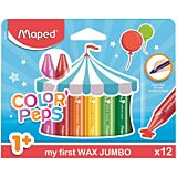 Set 12 creioane cerate Color'Peps Maped My First Jumbo, Multicolor