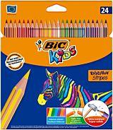 Creioane colorate Evolution Stripes, 24 bucati