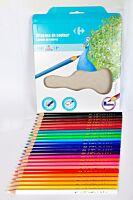 Set 24 creioane color, forma triunghiulara, Carrefour
