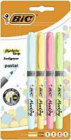 Set markere evidentiatoare Brite Liner Grip Pastel BIC, 4 bucati, Multicolor
