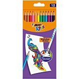 Set 12 creioane colorate cu radiera BIC Kids Evolution Illusion, Multicolor