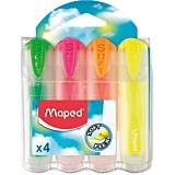 Set 4 markere evidentiatoare cu corpuri transparente Fluo'Peps Ultra Soft Maped, Multicolor