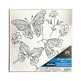 Panza preprintata School Friendly Art, print fluturi si flori, 12 culori si pensula incluse, 30x30 cm