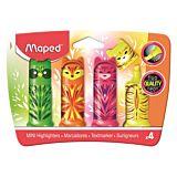 Set 4 mini-markere evidentiatoare Fluo'Peps Pocket Mini Friends Maped, Multicolor