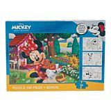 Puzzle Minnie Mouse, 3 foi A4 cu contur si 4 creioane colorate incluse, 100 piese
