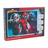 Puzzle Spider Man, 3 foi A4 cu contur si 4 creioane colorate incluse, 100 piese