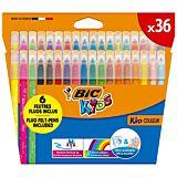 Set 36 markere de colorat ultralavabile BIC Kids Kid Couleur, 27 culori, Multicolor