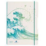Caiet my.book flex A4, 2x40 file, dictando+patratele, motiv Wave, seria GREENline, herlitz