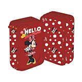 Penar neechipat Minnie Mouse, 3 compartimente, 3 fermoare, Rosu