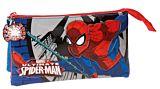 Penar cu 3 compartimente Spiderman Comic, microfibra/PVC, 22x12x5 cm, Albastru/Rosu