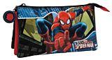 Penar cu 3 compartimente Spiderman, poliester/PVC, 22x12x5 cm, Bleumarin/Negru