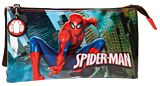 Penar cu 3 compartimente Spiderman City, microfibra/PVC, 22x12x5 cm, Rosu