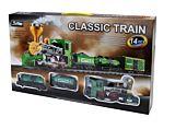 Tren electric cu sunete si efect fum, locomotiva, 3 vagoane, plastic, Multicolor