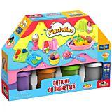 Set de joaca cu plastilina Buticul cu inghetata Plastelino, 4 culori, 18 piese