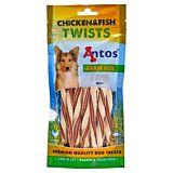 Recompense pentru caini adulti cu fasii de peste si pui Twists Antos