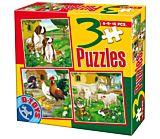 Set 3 puzzle animale D-Toys, 6/9/16 piese