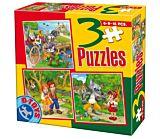 Set 3 puzzle basme D-Toys, 6/9/16 piese