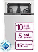 Masina de spalat vase incorporabila Arctic BI45, Clasa E, 10 seturi, Motor Silent Inverter, Functie RAPID+, 5 programe, Daily 65, Quick and Dry, 45 cm, Alb