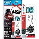 Set Periuta de dinti electrica copii + Travel Case D100 Vitality Oral B Star Wars, 1 capat, 4 stickere, Timer, 2 Programe, 7600 Oscilatii, Rosu