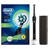 Periuta electrica Oral-B Pro 750 + Trusa de voiaj, 1 capat, cronometru 2 min, Negru