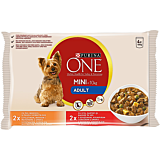 Hrana umeda pentru caini cu pui si morcov, Purina One 4x100g