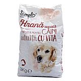 Hrana uscata completa pentru caini adulti, cu vita, Simpl, 3 kg