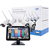 Kit supraveghere video PNI House WiFi650 - 4 camere Full HD Wi-Fi P2P si monitor LCD 12 inch