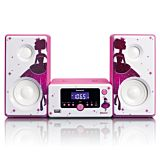 Microsistem stereo Lenco MC-020, Bluetooth, FM, USB si AUX, Roz