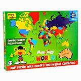 Puzzle creativ Harta Lumii Mapology World Imagimake, 68 piese, Multicolor