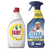 Pachet Promo: Detergent de vase Fairy Lemon, 450ml + Detergent universal spray Mr. Proper Lemon, 750ml