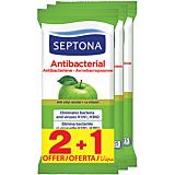 Servetele umede antibacteriene pentru maini, cu aroma de mar verde, Septona, 2+1 bucati