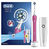 Periuta de dinti electrica Oral-B PRO 2 2500 Cross Action, Alb/Roz, 40000 pulsatii/min, 8800 oscilatii/min, 1capat