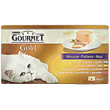 Hrana umeda pentru pisici cu ton, curcan, ficat si vita, Gourmet Gold 4x85g