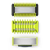 Kit Face & Body OneBlade QP620/50 Philips, compatibil OneBlade QP25/26 si OneBladePro QP65/66, Pieptene, 2 lame, Verde