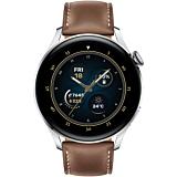 Smartwatch Huawei Watch 3, 46 mm, Argintiu, curea Brown Leather
