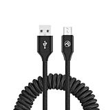 Cablu spiralat pentru telefon Tellur TLL155394, incarcare/sincronizare, USB to Micro USB, 2A, 1.8m, Negru