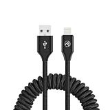 Cablu spiralat pentru telefon Tellur TLL155396, incarcare/sincronizare, USB to Lightning, 3A, 1.8m, Negru