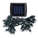Instalatie solara cu cablu si comutator, 50 becuri LED, plastic, Negru