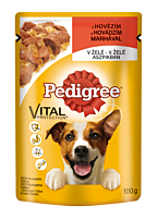 Hrana umeda completa pentru caini adulti cu vita in aspic Pedigree 100g